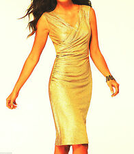 NWT CACHE Sexy Gold Shimmer Evening Dress Formal Party    8  10  12  ( M , L )
