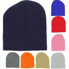 "Plain Beanie 8"" Inch Knit Short Ski Cap Skull Hat Warm Solid  Winter New Blank"