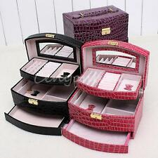 Faux Leather Jewellery Box Case Holder Storage Organizer Traveller Gift Large