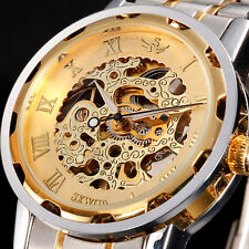 Classic Mens Skeleton Steampunk Self Winding Up Mechanical Sport Wrist Watch LE