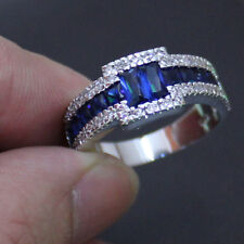 Size 8-11 Wonderful Mens Band Jewelry Sapphire 10KT White Gold Filled HI-Q Ring