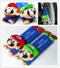 2PCS Car Seat Belt Cover Shoulder Cushion Super Mario Bros&Luigi Cartoon Cute