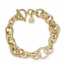 MICHAEL KORS GOLD AND SILVER TONE PAVE CRYSTAL LINK TOGGLE BRACELET