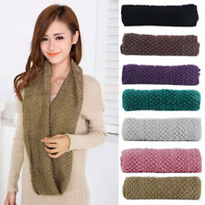 Women Unique Winter Warm Infinity Wrap 2 Circle Shawl Cable Knit Cowl Neck Scarf