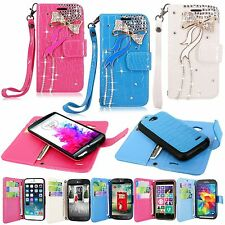 Diamond Bow Design Pu Leather Wallet Detachable Back Cover For Many Phones Model