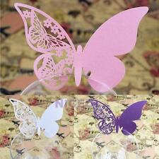 50 Pcs Butterfly Cut-out Place Escort Wedding Party Bar Wine Glass Paper Cards