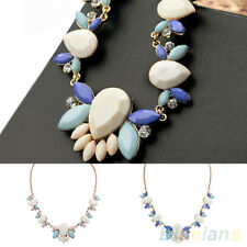 New Come Charm Fashion Crystal Resin Drop Flower Statement Choker Bib Necklace