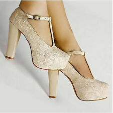 Princess Lace Strappy Wedge Buckle Platform Ladies Party Wedding High Heels
