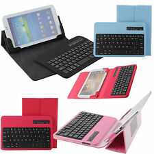 """For 7""""-8"""" iOS Android Tablet PC Bluetooth USB Keyboard Leather Case Cover Stand"""