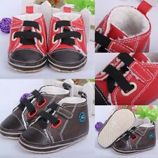 Baby Boy Girl Faux Leather Non-slip Soft Sole Walking Toddler Infant Warm Shoes