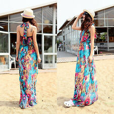 Summer Dress Halter V-Neck Long Beach Tropical Colorful Peacock S M L XL