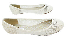 Occasions Eleanor Women's Ivory Lace Ballerina Wedding Bridal Pumps New