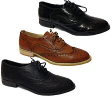 Ladies Womens Girls Office Work Back To School Lace Up Brogues Shoe Size 3-8