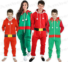 Mens Ladies Unisex Elf Santa Christmas All in One Novelty Onesie Plus Size S-4XL
