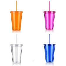 500ml Plastic Drink Iced Coffee Juice Cup Beaker Lid Smoothie Party with Straw
