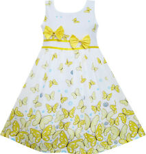 Sunny Fashion Girls Dress Butterfly Yellow Double Bow Tie Summer Beach Size 4-12