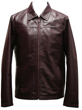 Mens Real Leather Jacket Casual Retro Biker in Black or Tan Brown