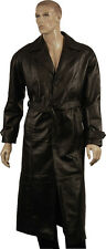 Full Length Single Breasted Nappa Real Leather Trench Coat Long Jacket with Belt