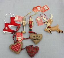 VINTAGE SHABBY CHIC TRADITIONAL WOODEN FELT XMAS TREE DECORATIONS assorted