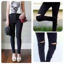Classic High Waisted Jeans Women Ripped Skinny Jeans Black Jeans Dark Pants