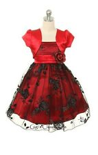 New Flower Girls Red Black Fancy Dress with Bolero Christmas Party Pageant MK203
