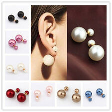 7 Colors 1 Pair Hot New Women Fashion Man-Made Double Pearl Earrings Ear Studs