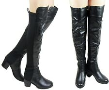 NEW LADIES WOMEN  BLACK OVER THE KNEE THIGH STRETCHY ELASTIC BOOT SIZE 3 - 8