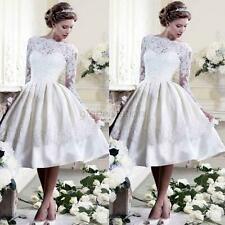 Stock New White Lace Short Princess Wedding Dress Bridal Gown US Size 6 8 10