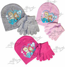 Disney Frozen Hat Set and Gloves knitted winter warm Christmas girls Official