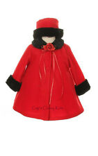 New Red Baby Girls A-Line Fleece Coat with Black Fur Trim and Hat Winter Fancy