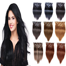 """Wholesale New 15""""-36"""" Remy Clips In Human Hair Extensions Straight 75-140gr Lot"""