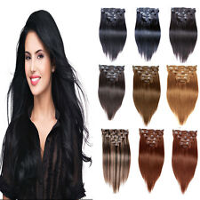 """Wholesale New 15""""-36"""" Remy Clips In Human Hair Extensions Straight 5-140g Lot"""