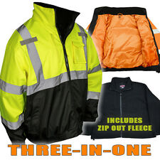 Radians, High Visibility Class 3 Bomber Jacket - Green/Orange, SJ210B, Hi-Viz
