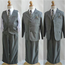 Elegant LTO Boy light olive pinstripe/white shirt wedding party formal suit
