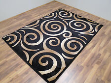 New Black Beige Swirl Abstract Contemporary Carpet Modern Area Rugs