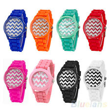 Unisex Amazing Geneva Stripes Silicone Band Jelly Gel Quartz Analog Wrist Watch