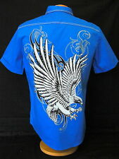 Bizzo mens teal short sleeve graphic eagle sequins design dress shirt Runs Small