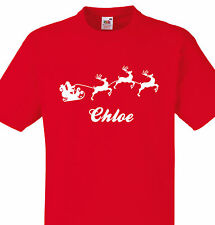 PERSONALISED CHLOE CHRISTMAS T SHIRT KIDS OR ADULTS SANTA SLEIGH