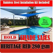3x6 Metre Heritage Red Rectangle 280 gsm Shade Sail with S/S GR316 Mounting Kit