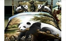 Queen Quilt Duvet Covers Comforter Sest 8Pc Olive Panda 100% Cotton Bedding Sets