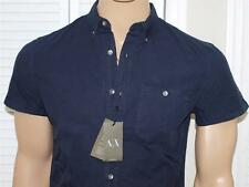 Armani Exchange Ripstop Button Front Slim Fit Shirt Navy NWT