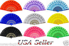 Ladys Hand Fan Chinese Japanese Folding Peacock Bead Fabric Floral Sparkle Decor