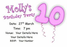 il Personalised INVITATIONS AGE TEN PK 10 +env, birthday party invites PINK GIRL