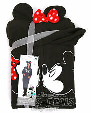 Womens Disney Mickey Mouse Fleece 1 Piece Hooded Footed Pajama S M L XL XXL
