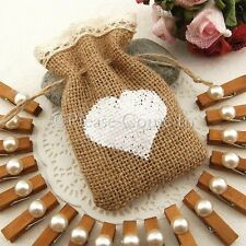 Small Hessian Burlap Bag with Crochet Lace Drawstring & Heart Wedding Favours