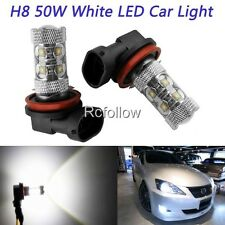 H8 50W 10-SMD White LED High Power Car DRL Daytime Running Light Fog Lamp Bulb