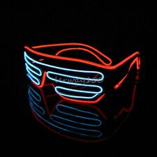 LED EL Wire Black Frame Shutter Neon Glow Light Glasses for Chrismas Party Disco