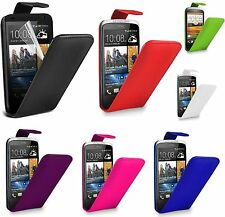Flip Leather Case Cover & Screen Protector For HTC Desire 300