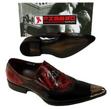 New Men's Fiesso Metal Toe Slip on Patent Leather Dress Shoes Black/Red FI 6784