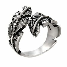 STAINLESS STEEL SILVER COLOR FEATHER DESIGN CUTOUT GODDESS CELEBRITY RING BAND